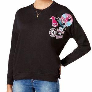 Dreamworks Trolls Black Patched Sweatshirt Sz M